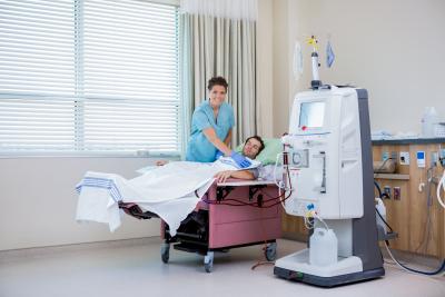 patient receiving renal dialysis